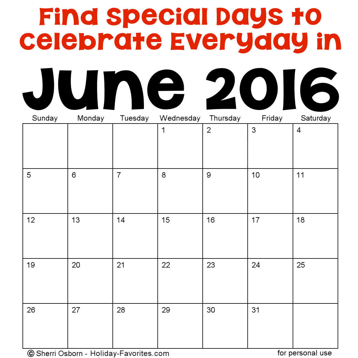 June Calendar Special Days : Crazy calendar days just b use