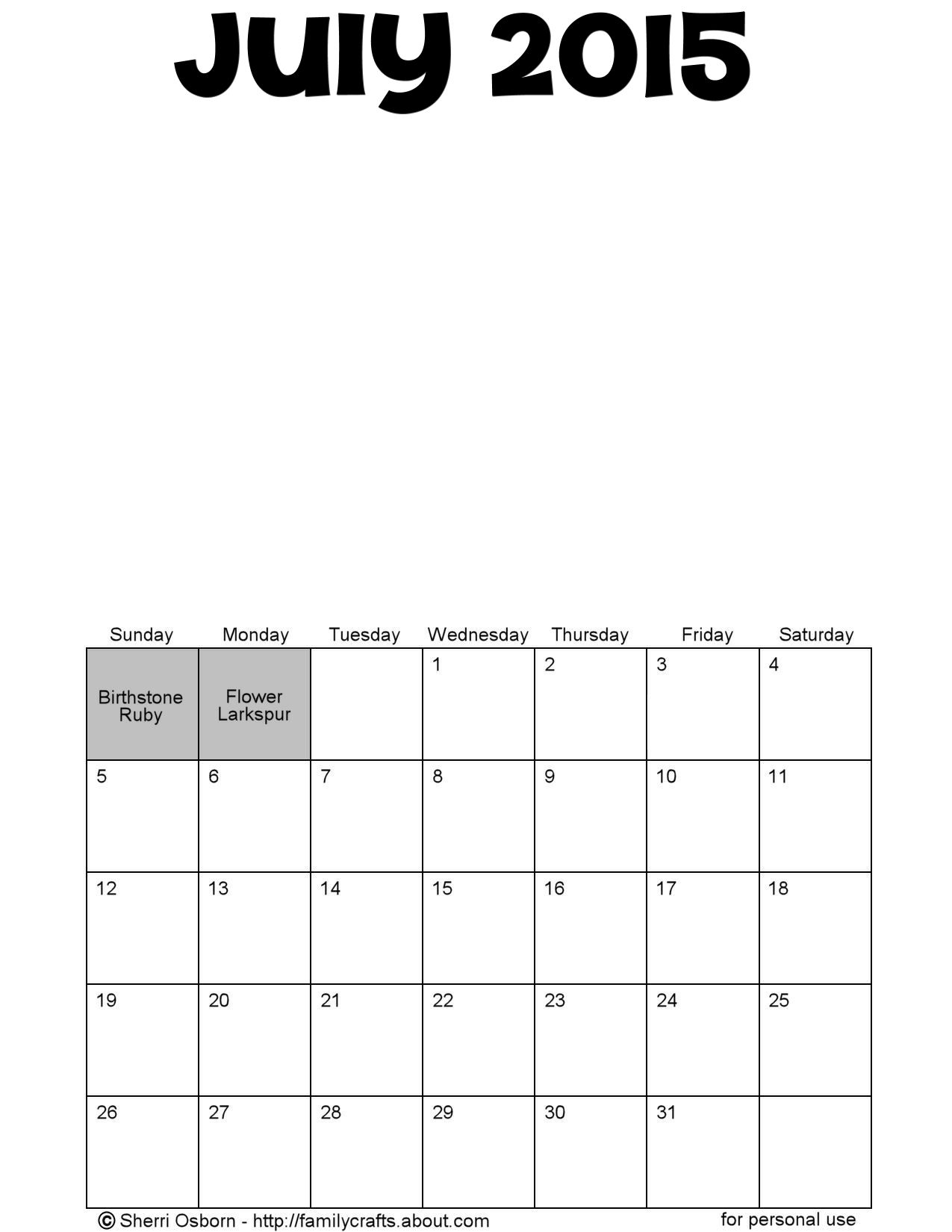 calendar blanks 2015