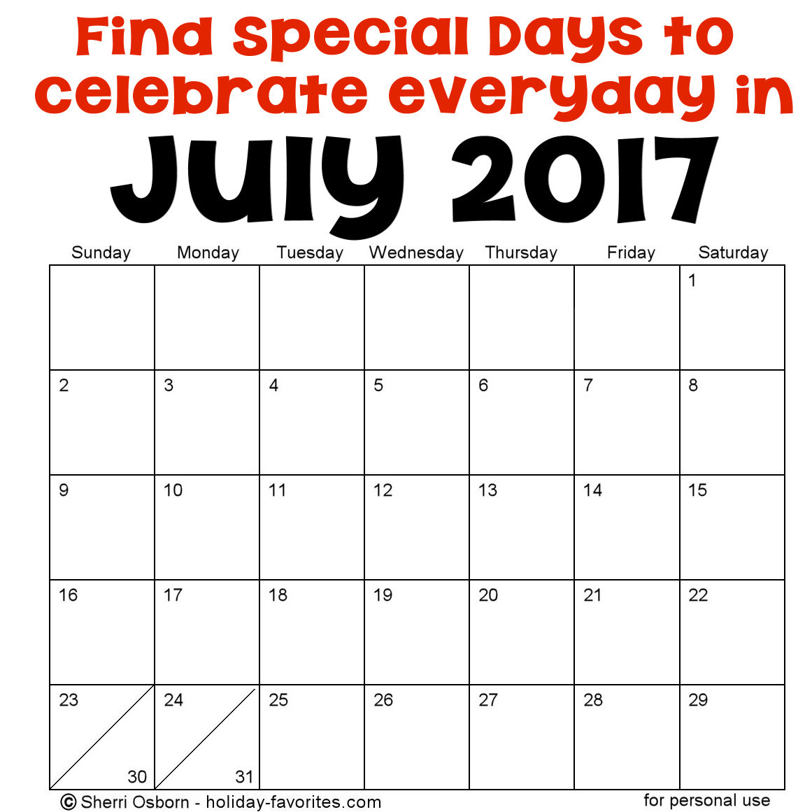 July Holidays and Special Days