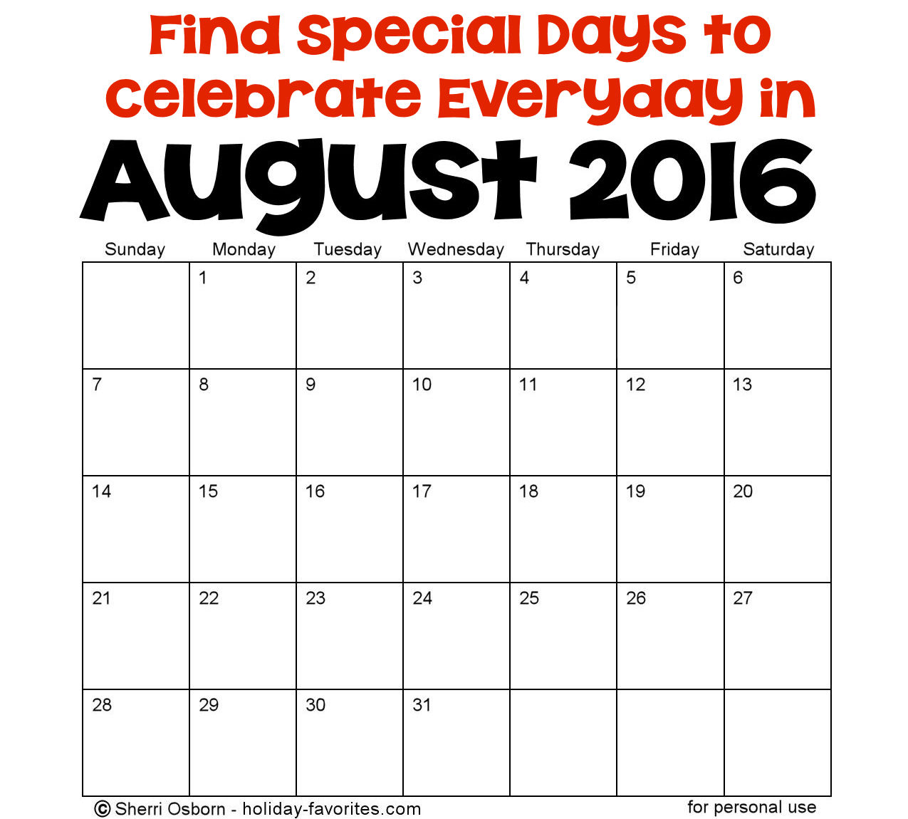 August Holidays and Special Days