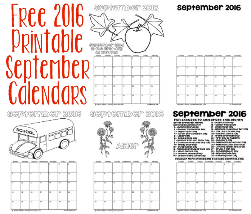 Printable September 2016 Calendars