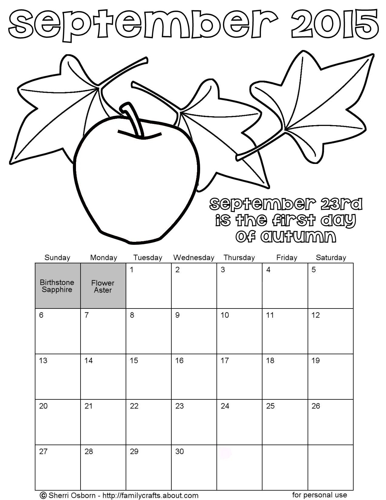 Printable september 2015 calendars holiday favorites for Calendar coloring page