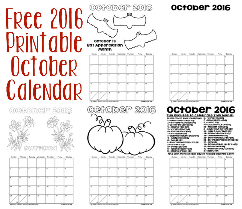 Free 2016 Printable October Calendar Pages