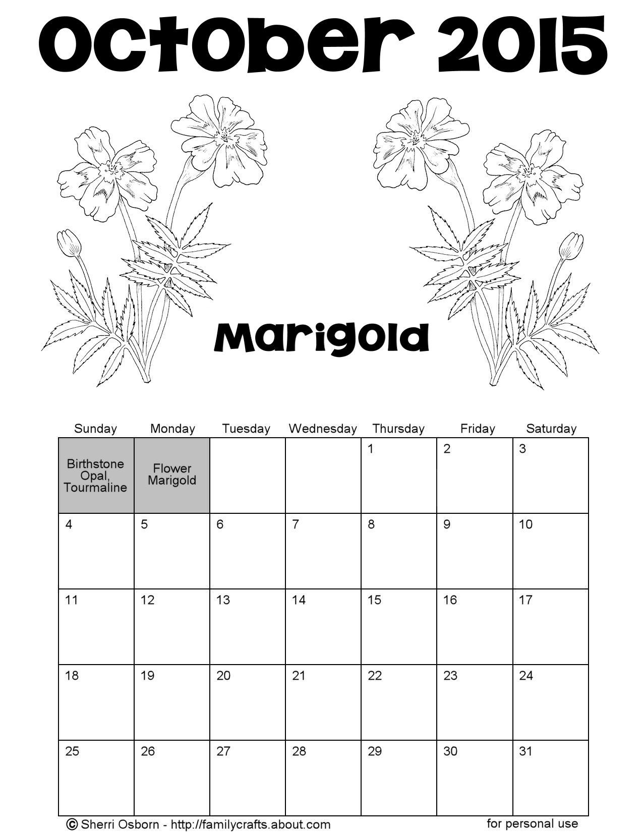Printable October 2015 Flower Coloring Calendar Page