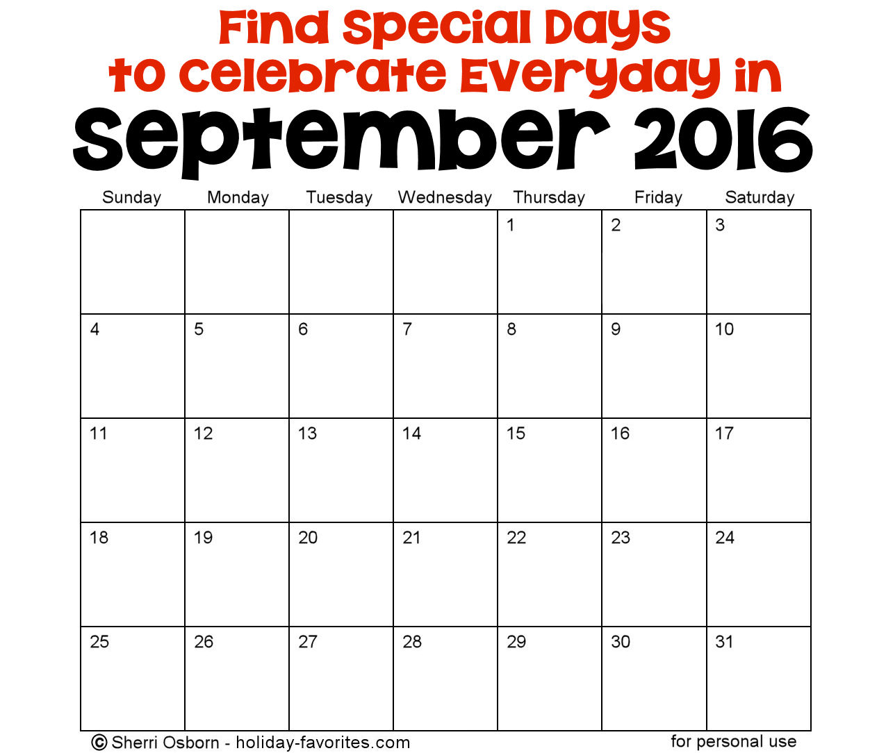 September Holidays and Special Days