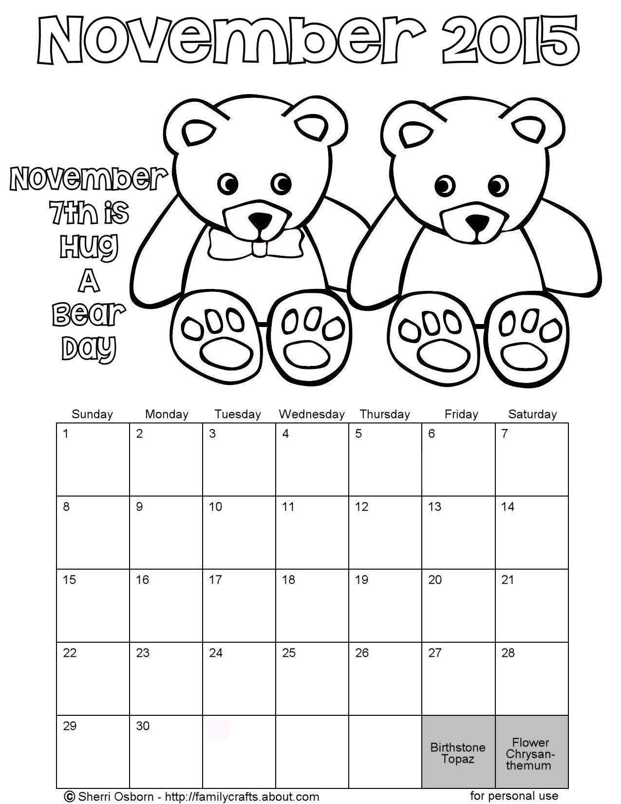 november calendar coloring pages 2015 - photo#2