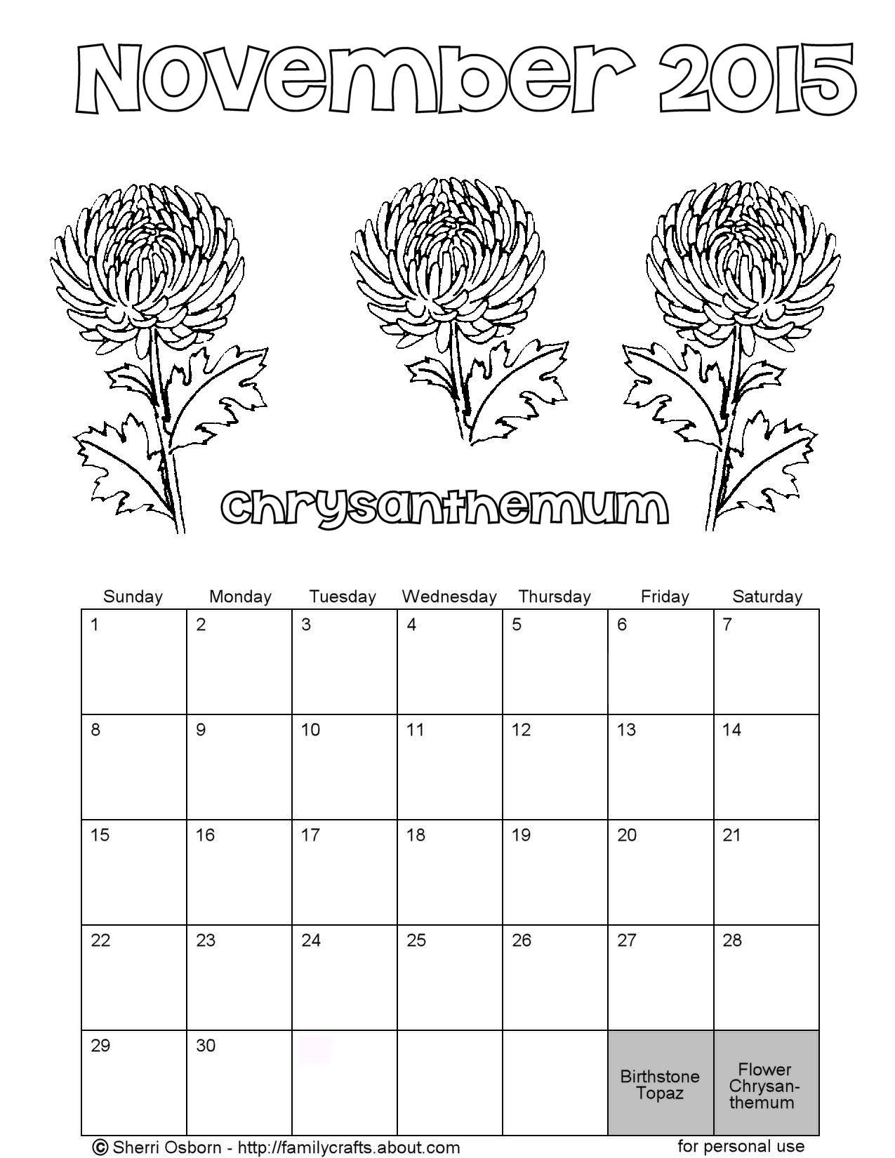 Printable November Calendars