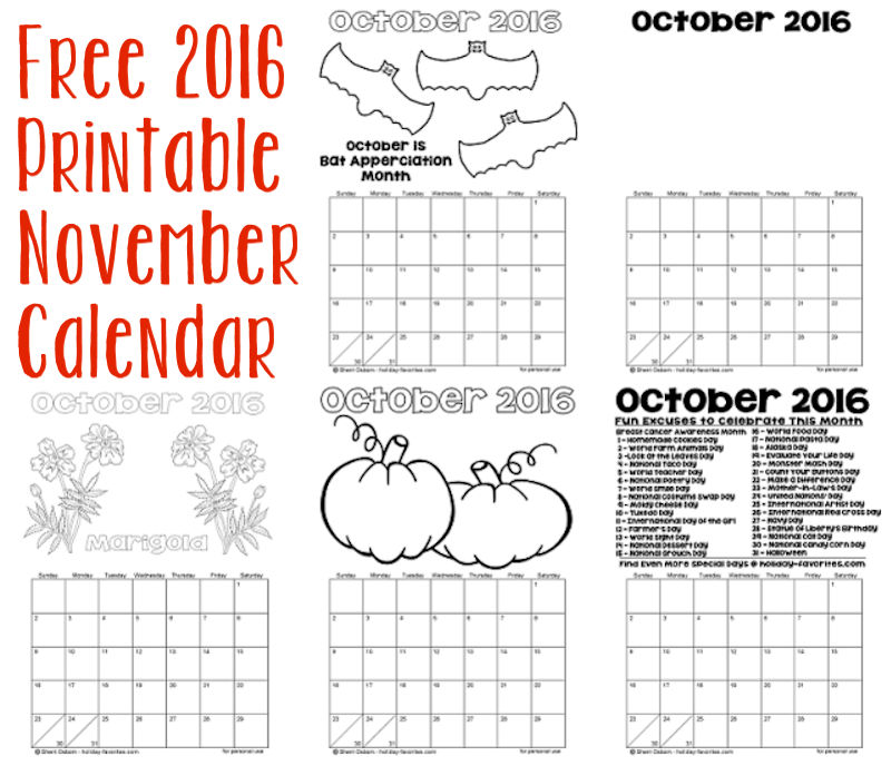 photograph regarding Printable November Calendar named Printable November Calendars Holiday vacation Favorites
