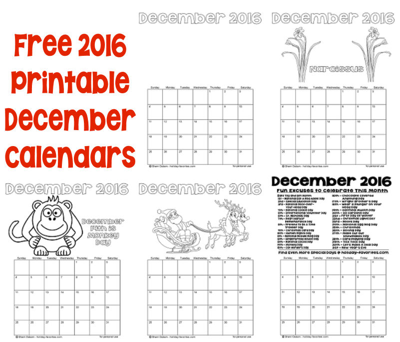 free 2016 december printBLE CALENDAR PAGES