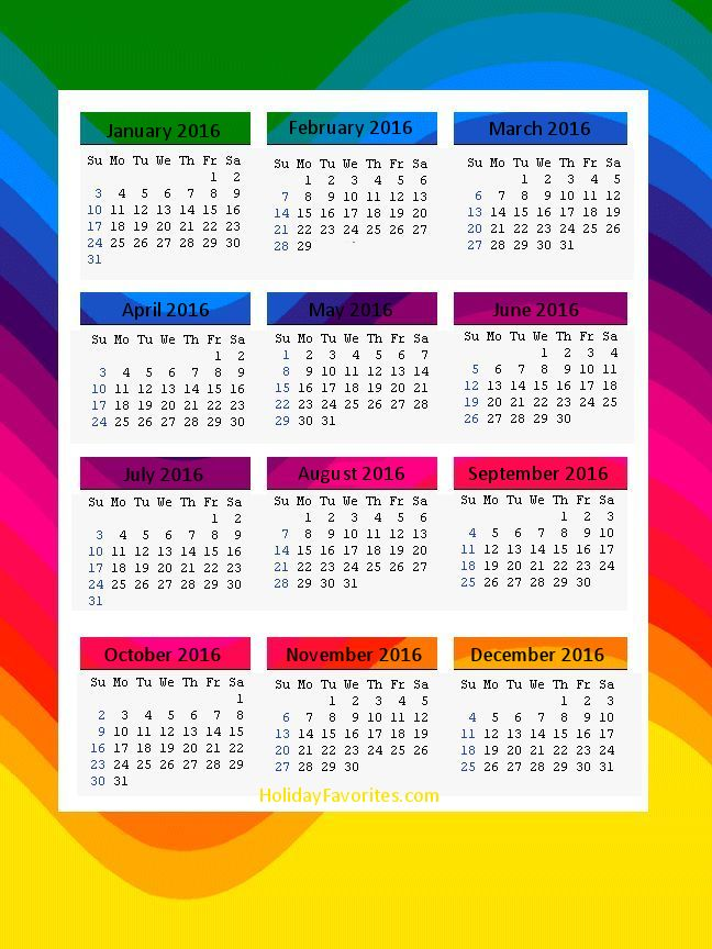 2016 printable calendarsholiday favorites