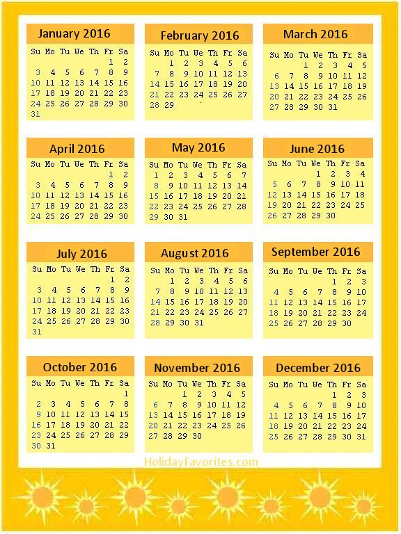 Yellow Sunshine 2016 Calendar Page