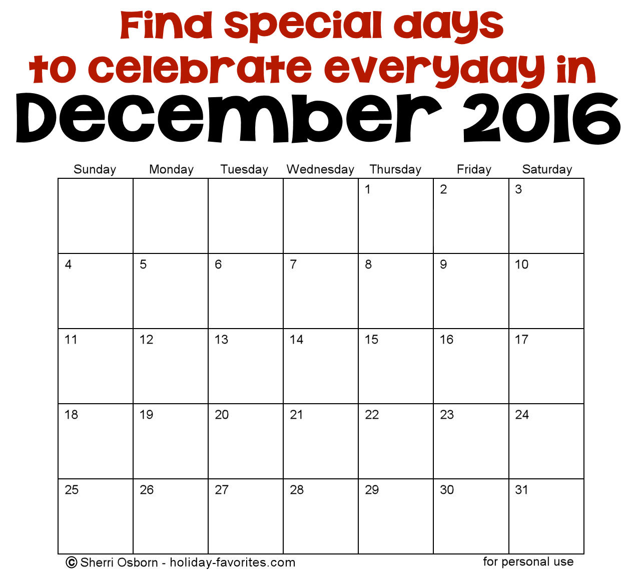 December Holidays and Special Days