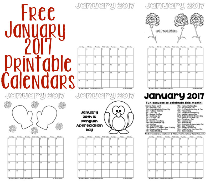free january 2017 printable calendars