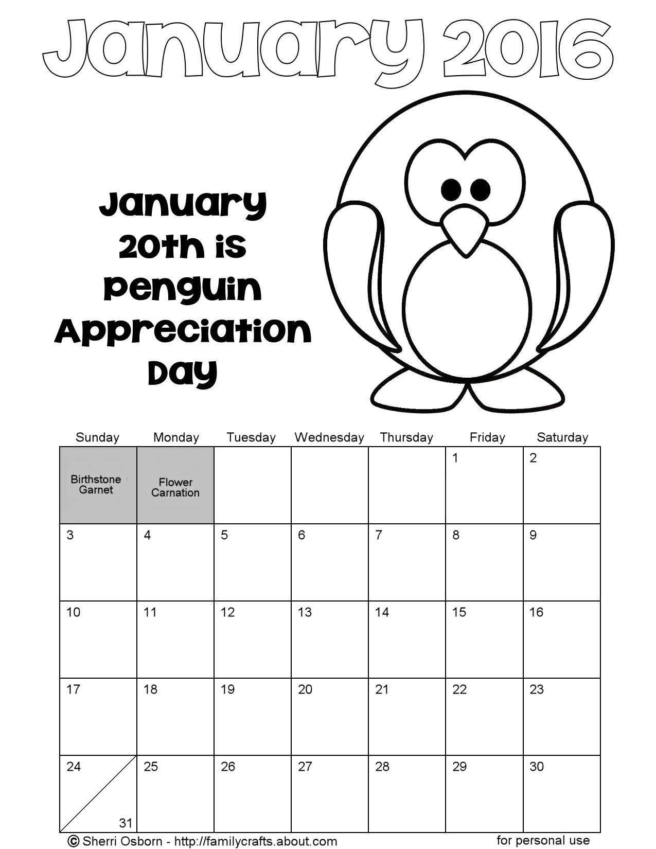 january 2016 penguin printable calendar holiday favorites