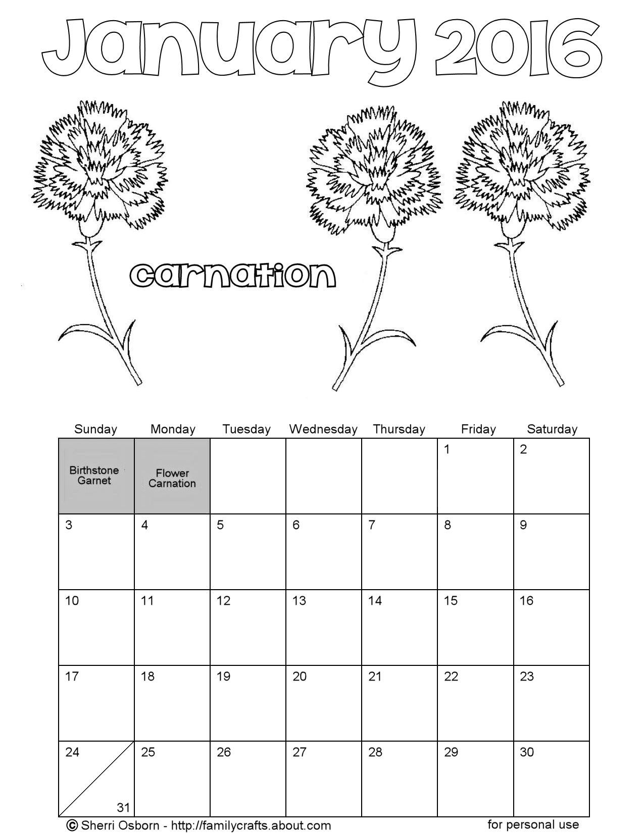 January 2016 Printable Calendar Pages | Holiday Favorites