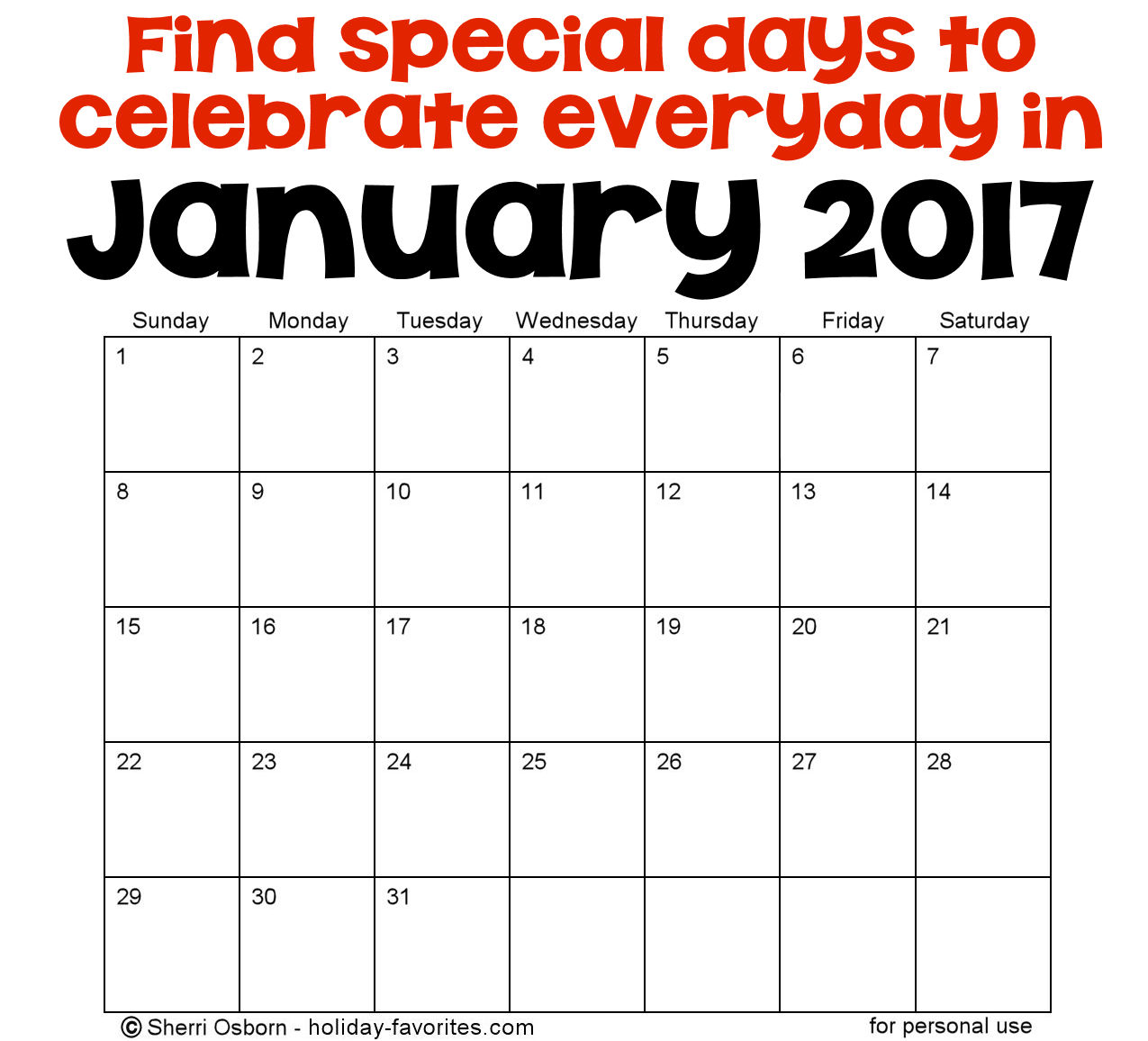 January Holidays and Special Days
