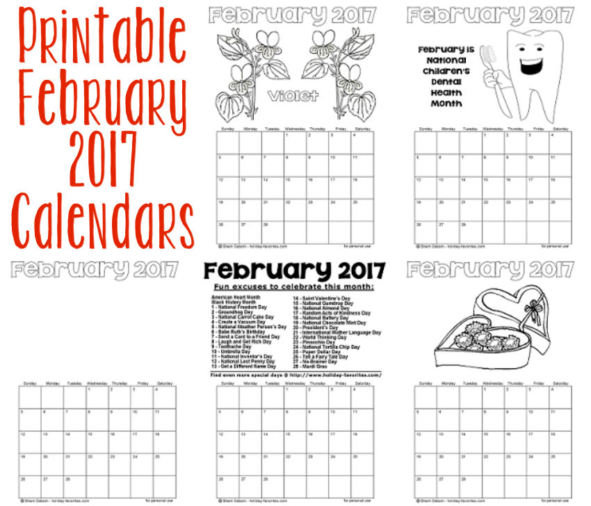 Printable February 2017 Calendars