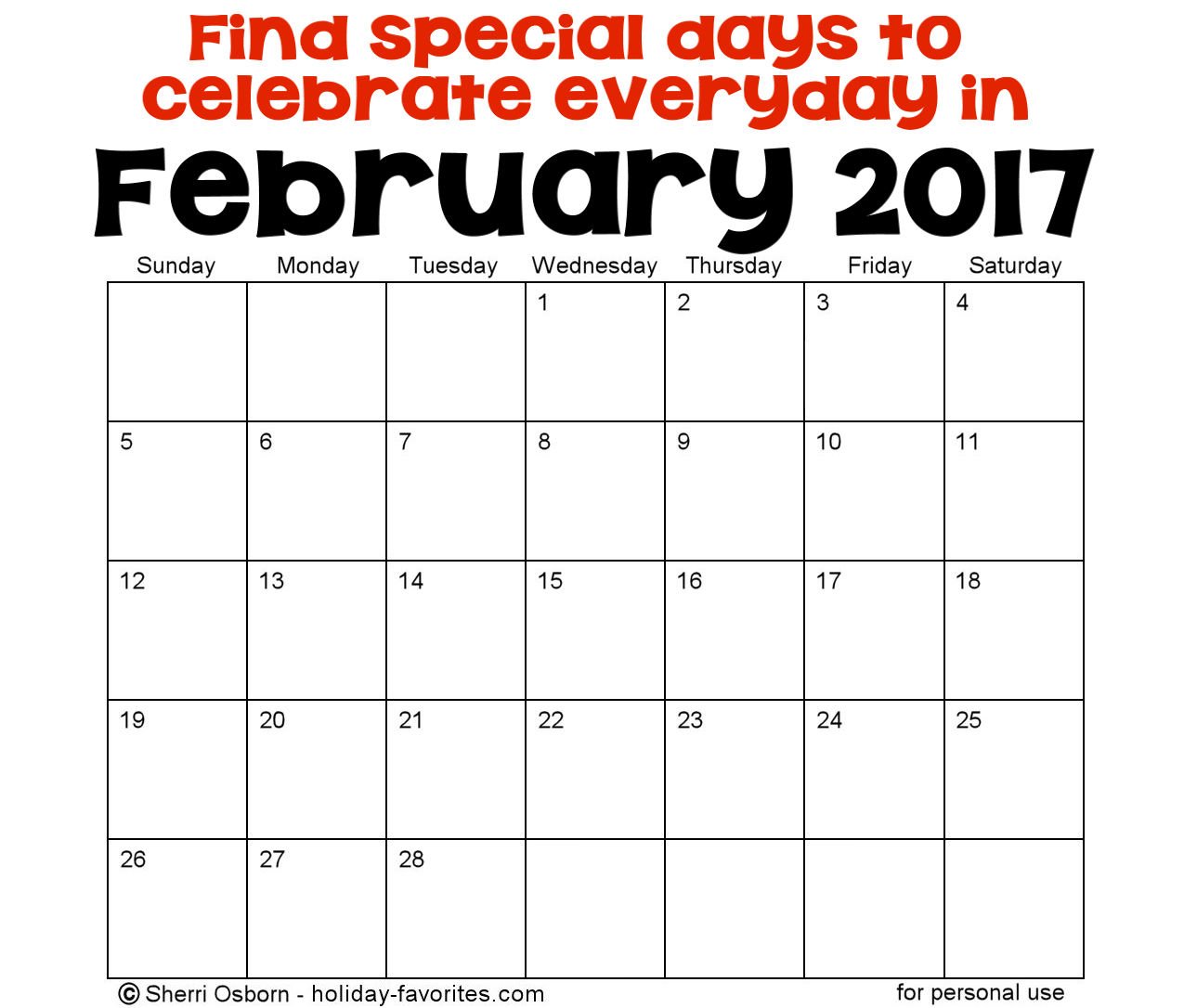 February Holidays and Special Days