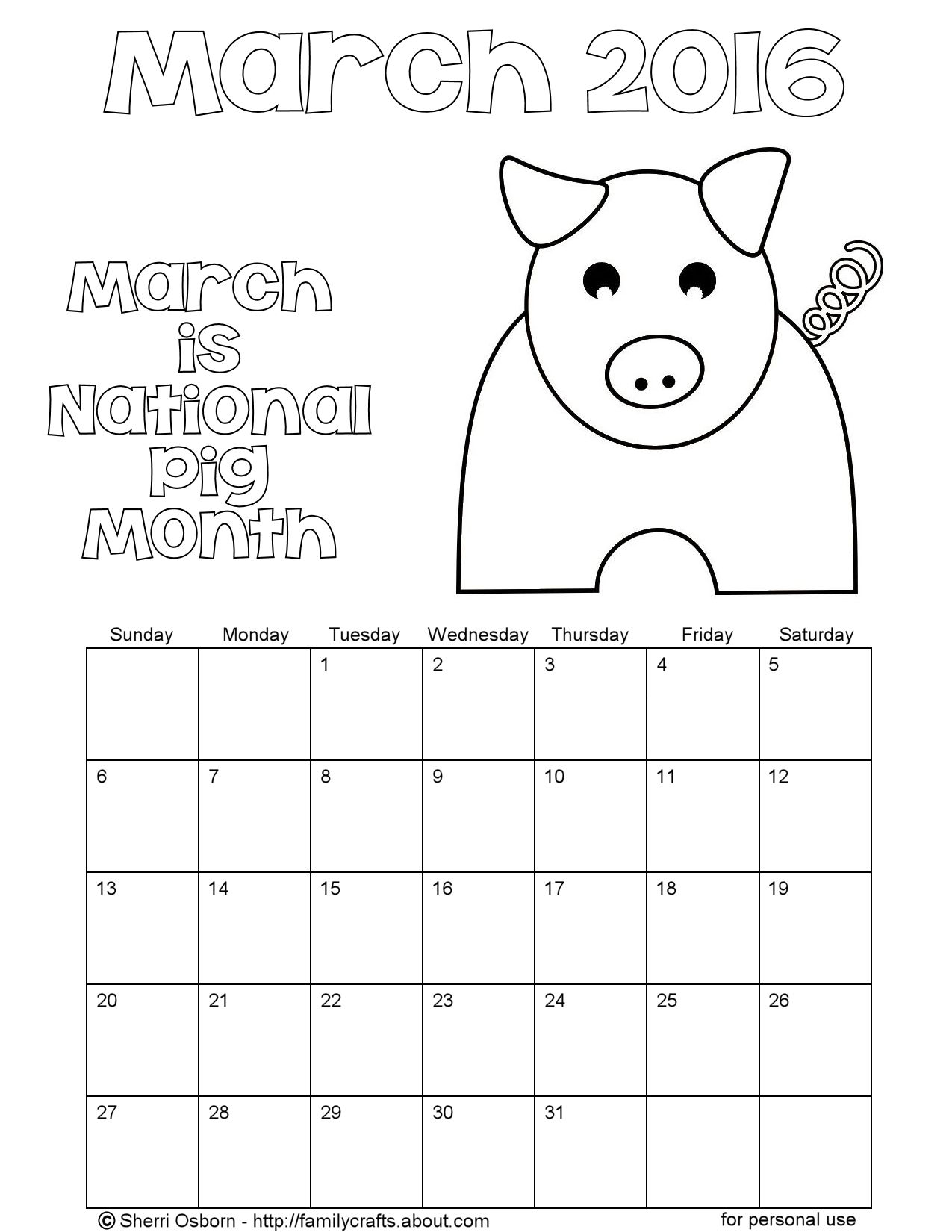 Printable March 2016 CalendarsHoliday Favorites