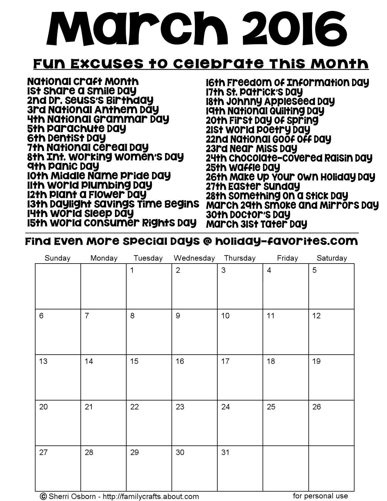Printable March 2016 Special Days Calendar Page