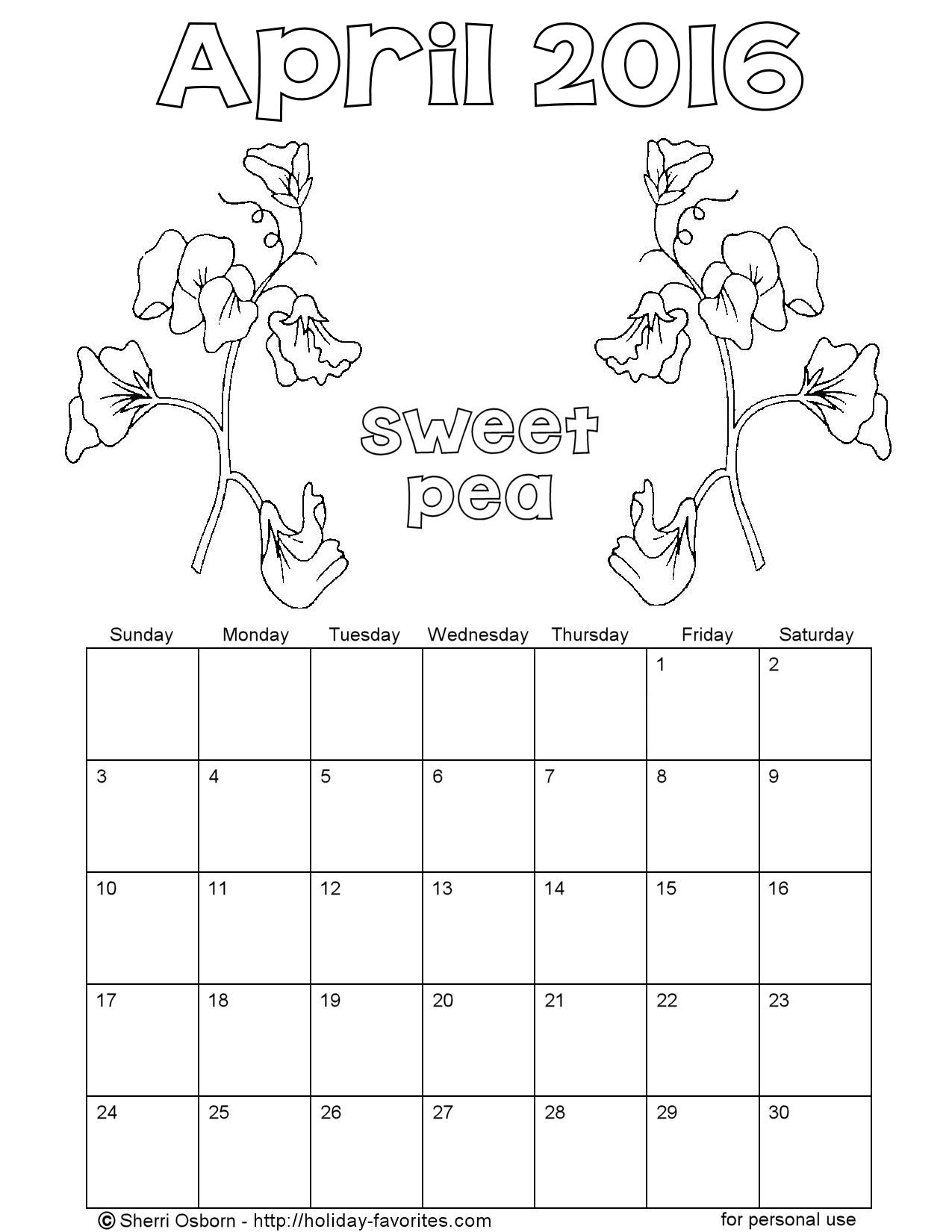 April Calendar Page : Printable april calendars holiday favorites