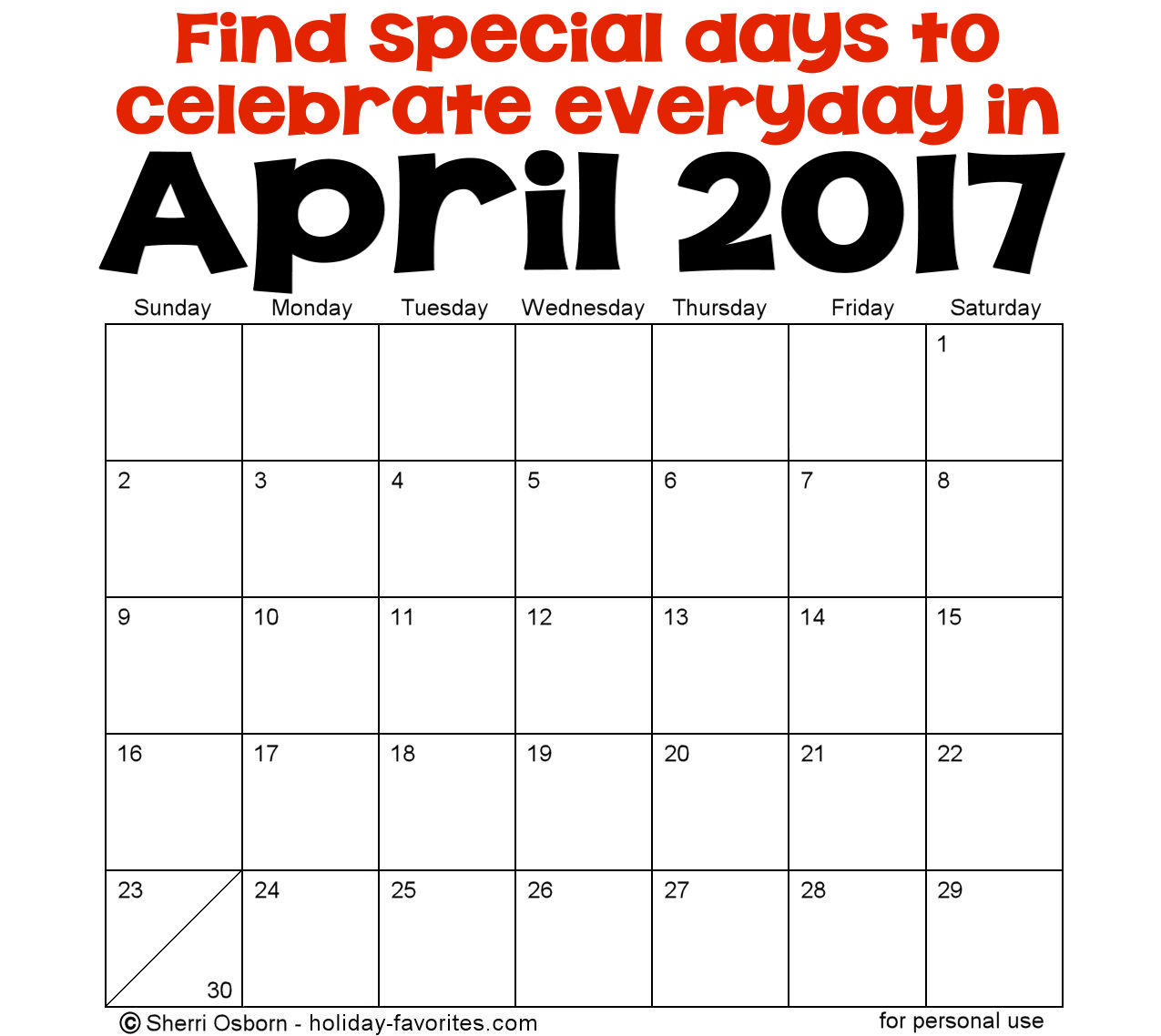 April 2017 Holidays and Special Days