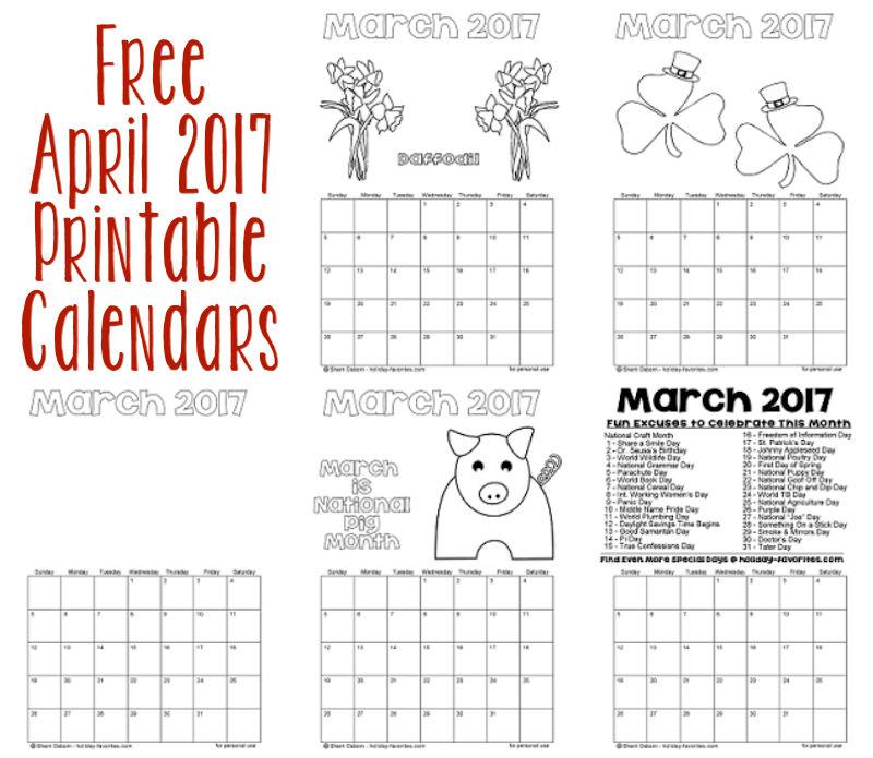 Printable April 2017 Calendars