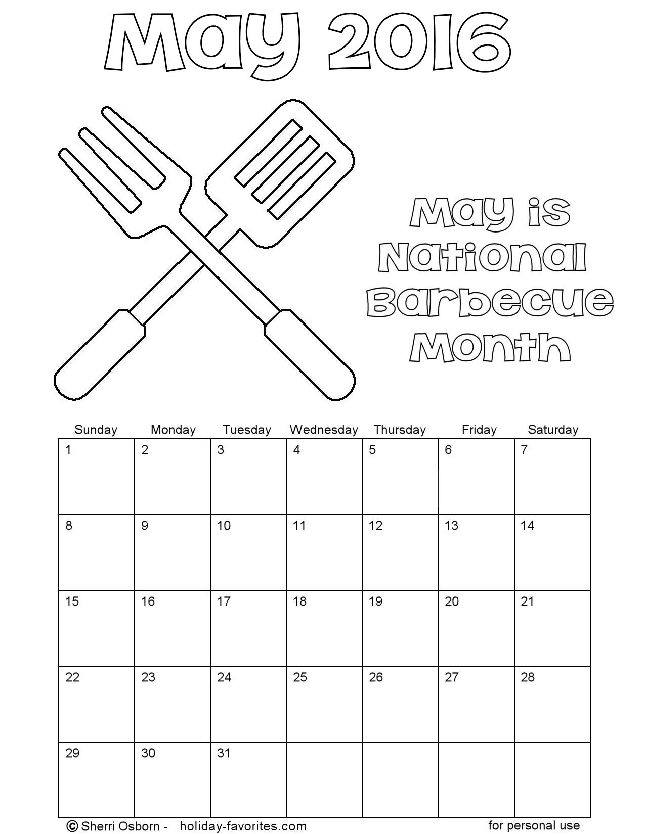 Printable may 2016 calendars holiday favorites for Calendar coloring page