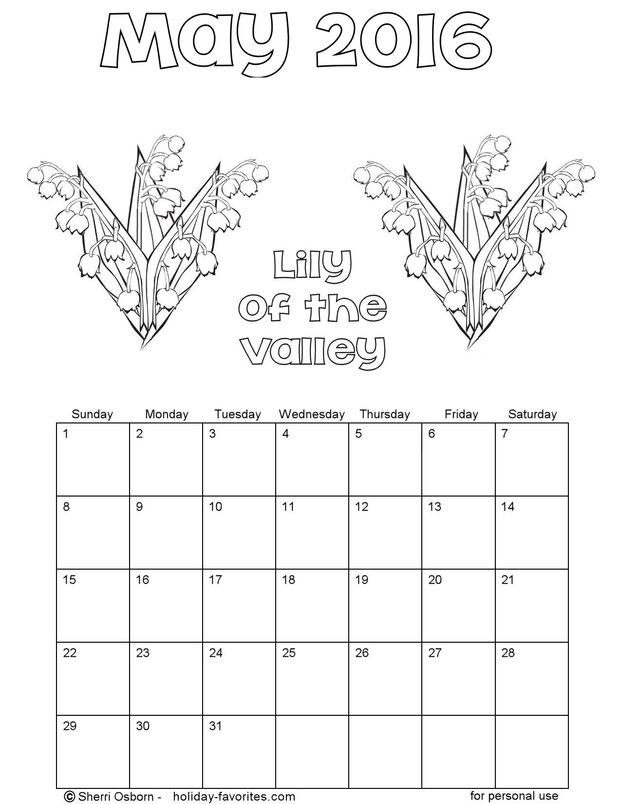 May 2016 Lily-of-the-Valley Calendar Page