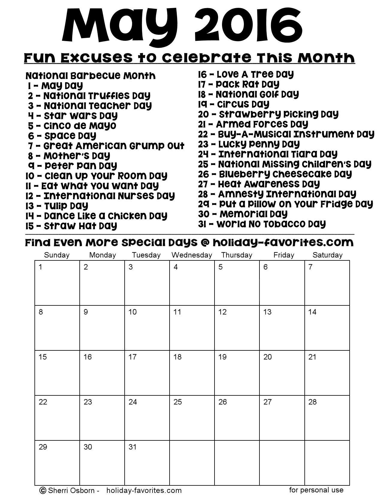 Printable May 2016 Special Days Calendar