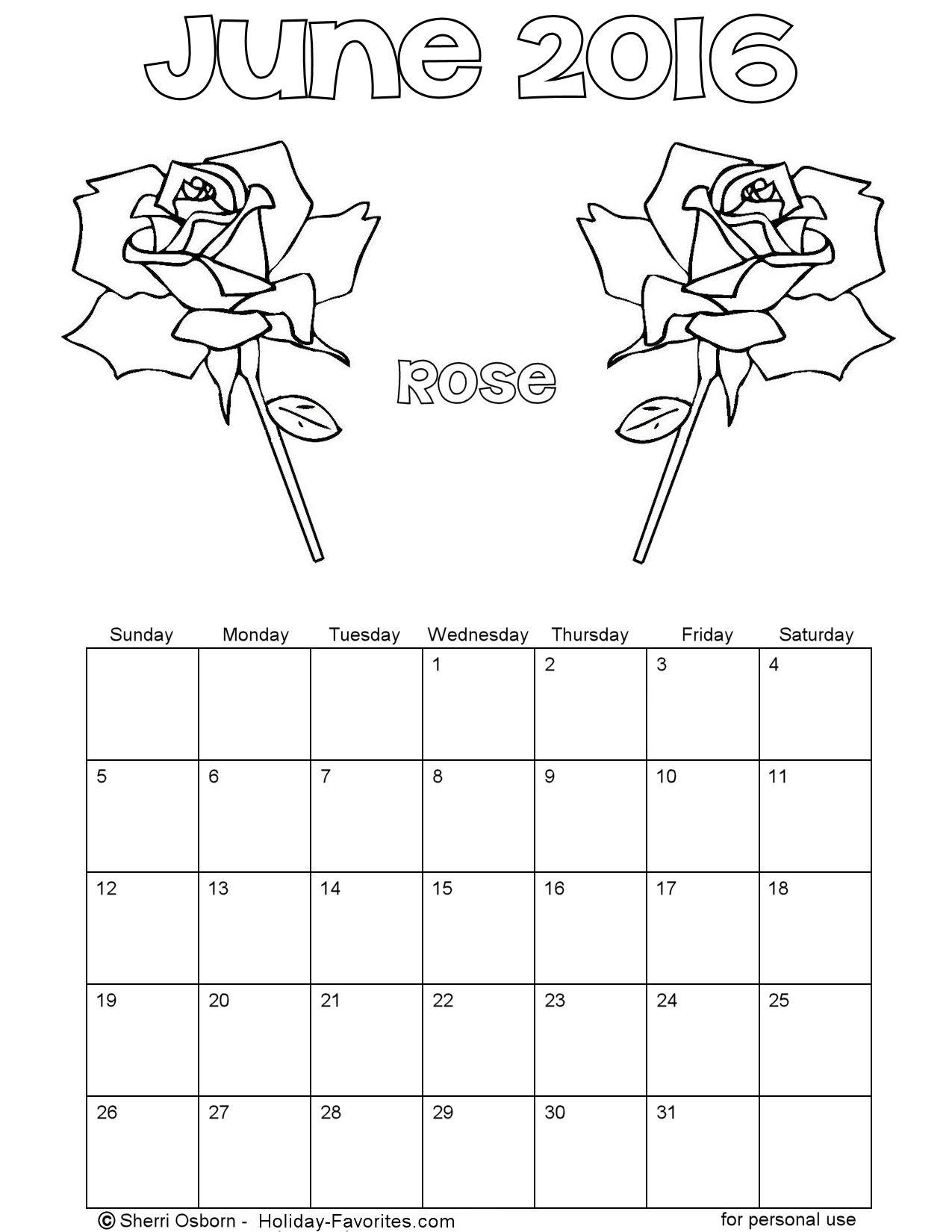 Printable June 2016 Calendars | Holiday Favorites