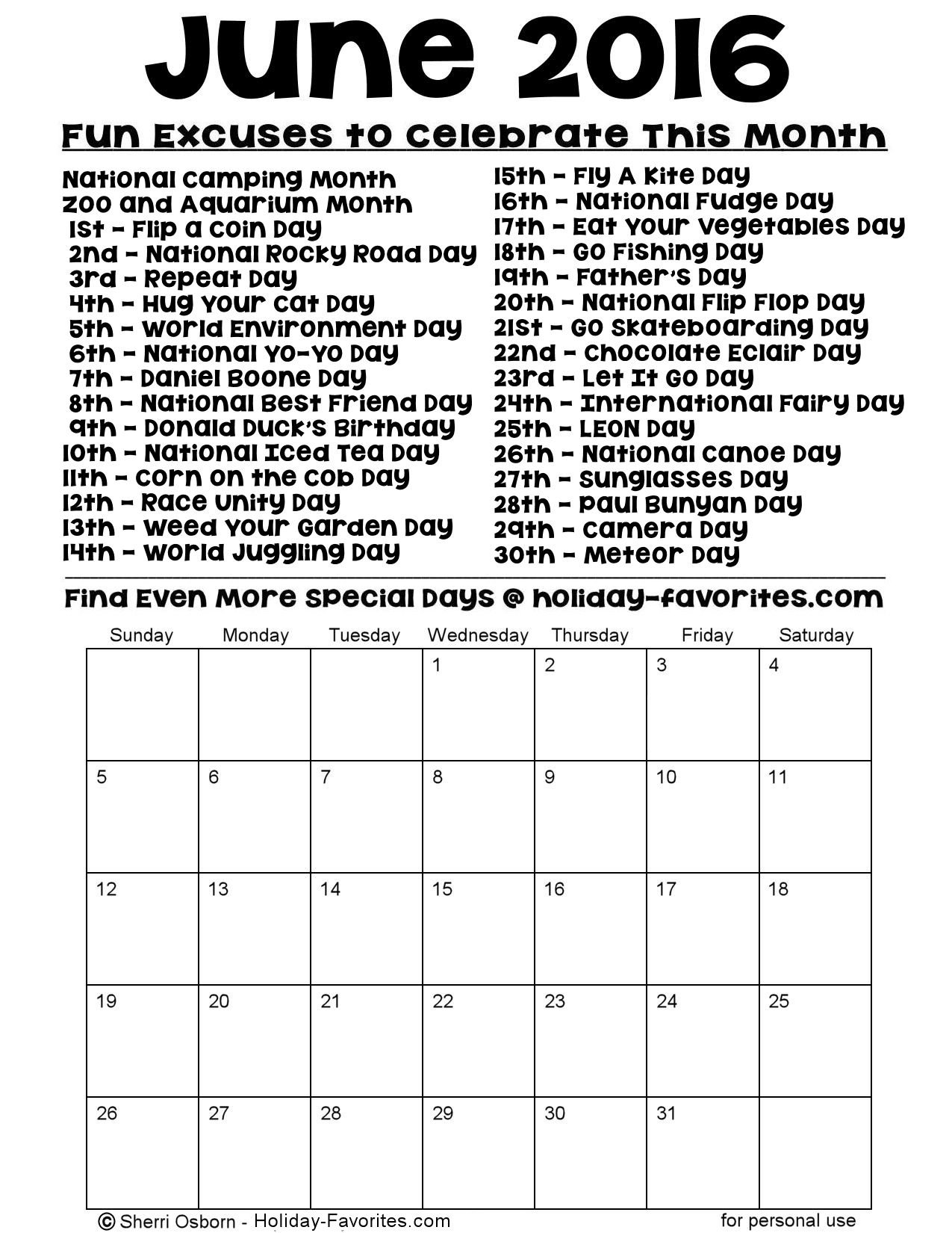 June Calendar Special Days : Printable june calendars holiday favorites