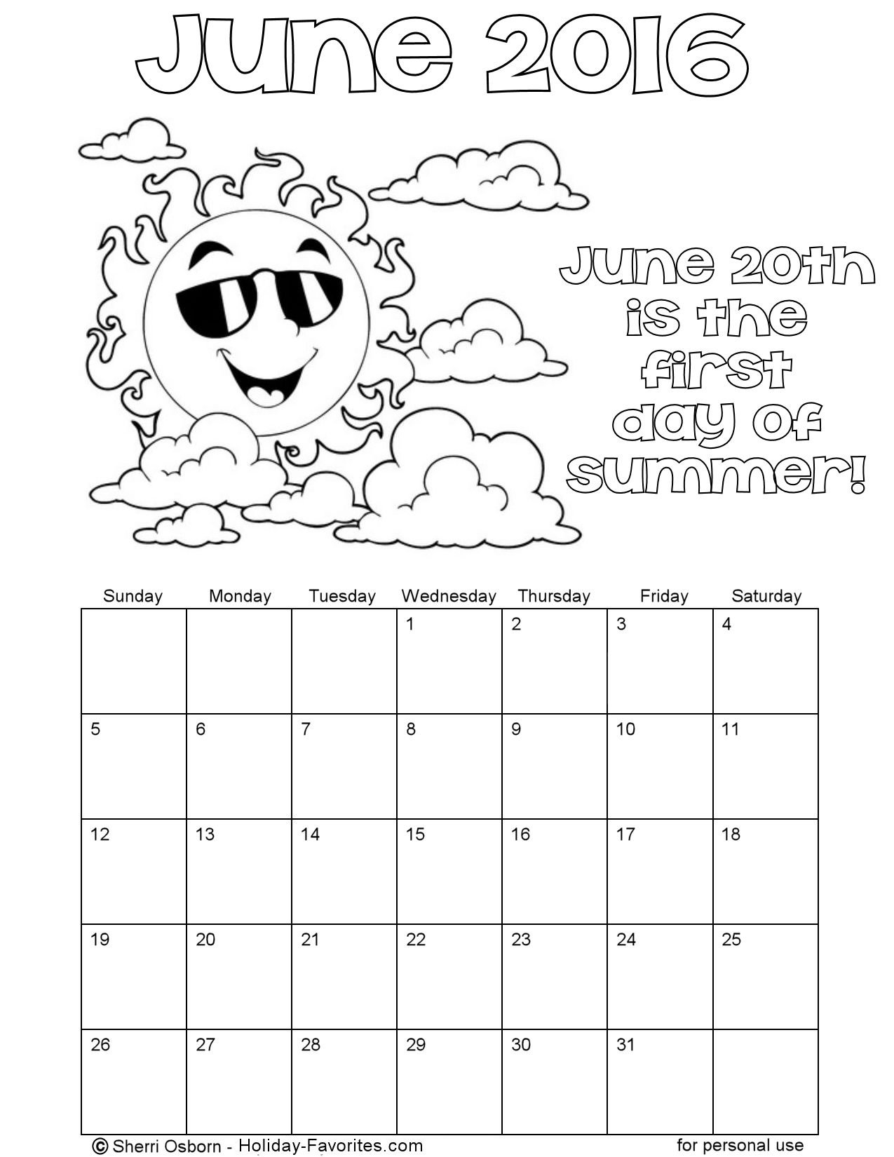 june 2016 printable summer color calendar holiday favorites