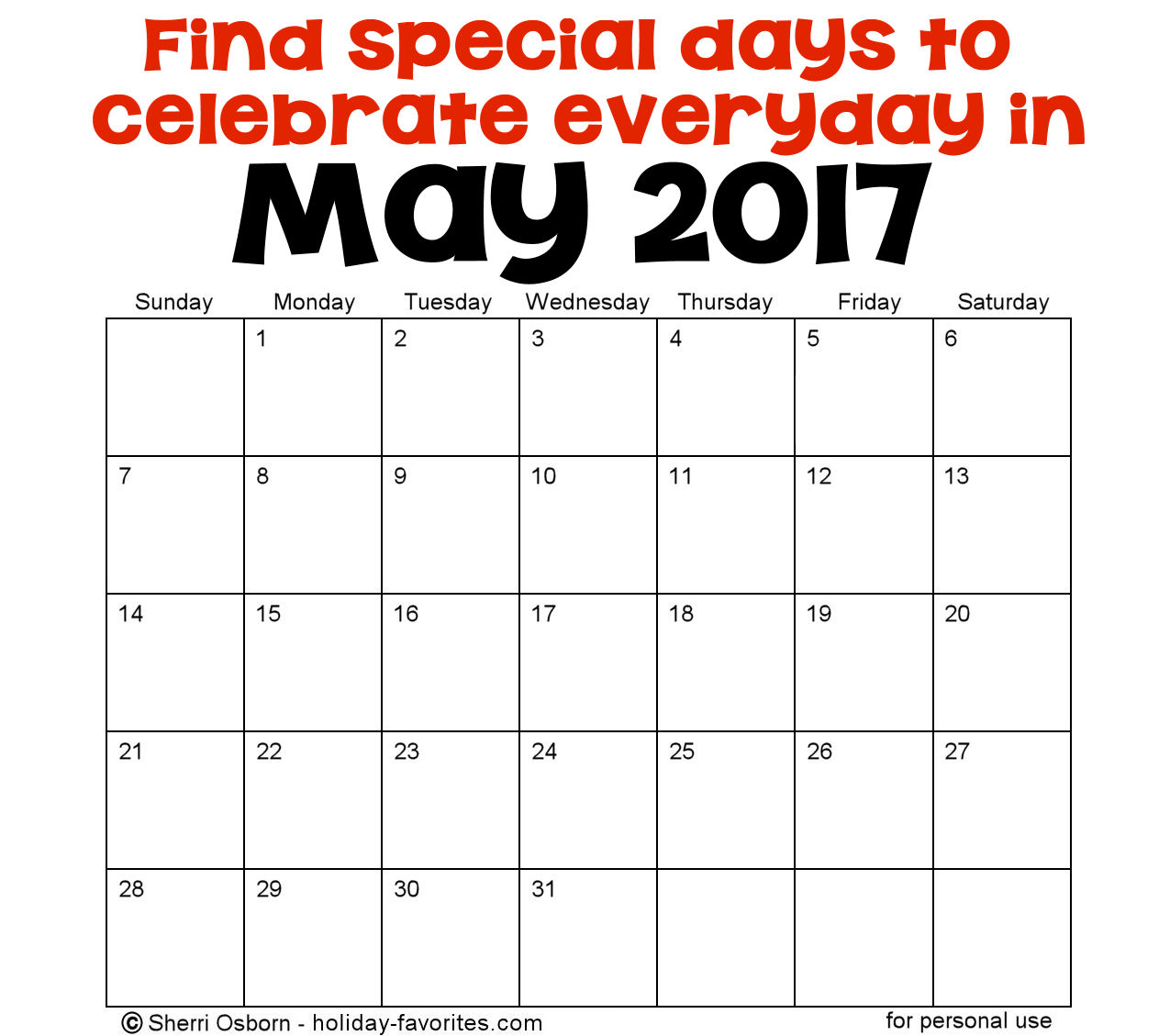 May Holidays and Special Days