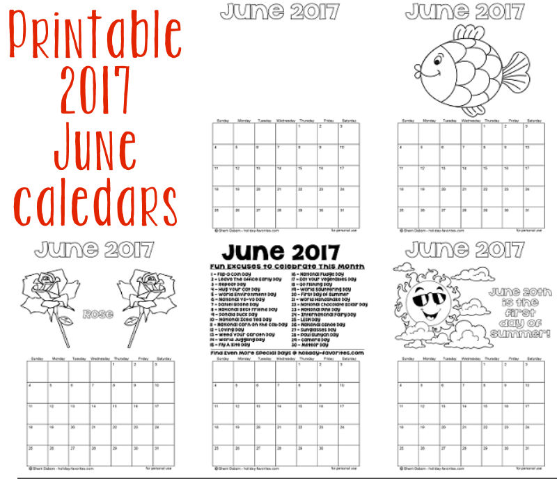 Printable Coloring Calendar 2017 Free : Printable june 2017 calendars holiday favorites