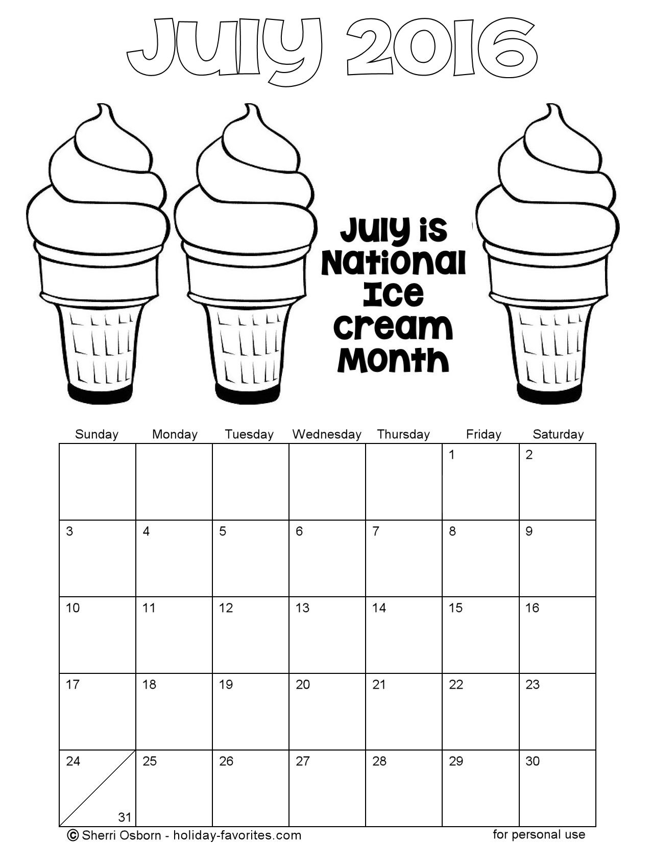 July 2016 Printable Ice Cream Coloring Calendar Page