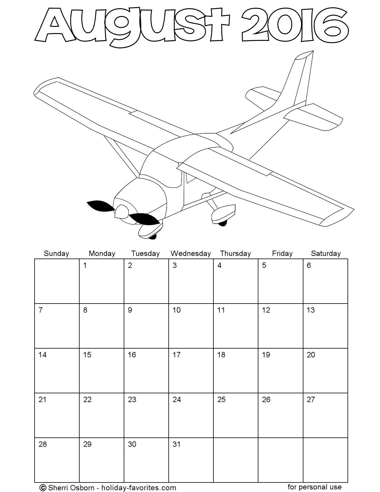 Printable Airplane Coloring Calendar for August