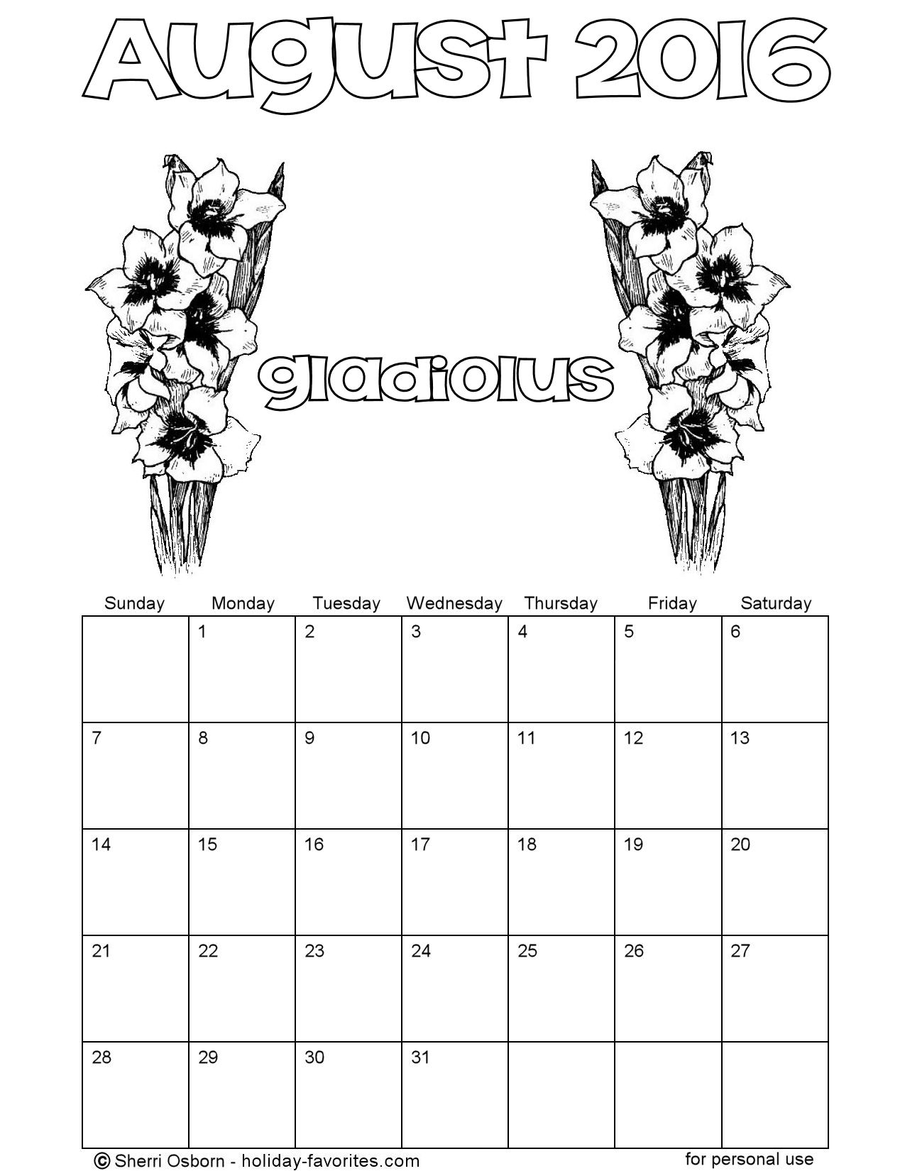 Printable Gladiolus Coloring Calendar for August