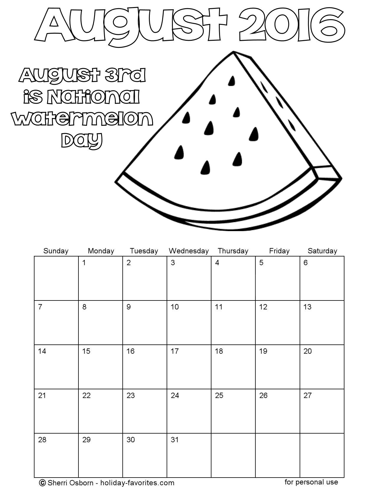 Printable Watermelon Coloring Calendar for August