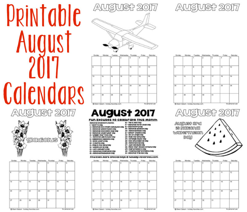 Printable August 2017 Calendars
