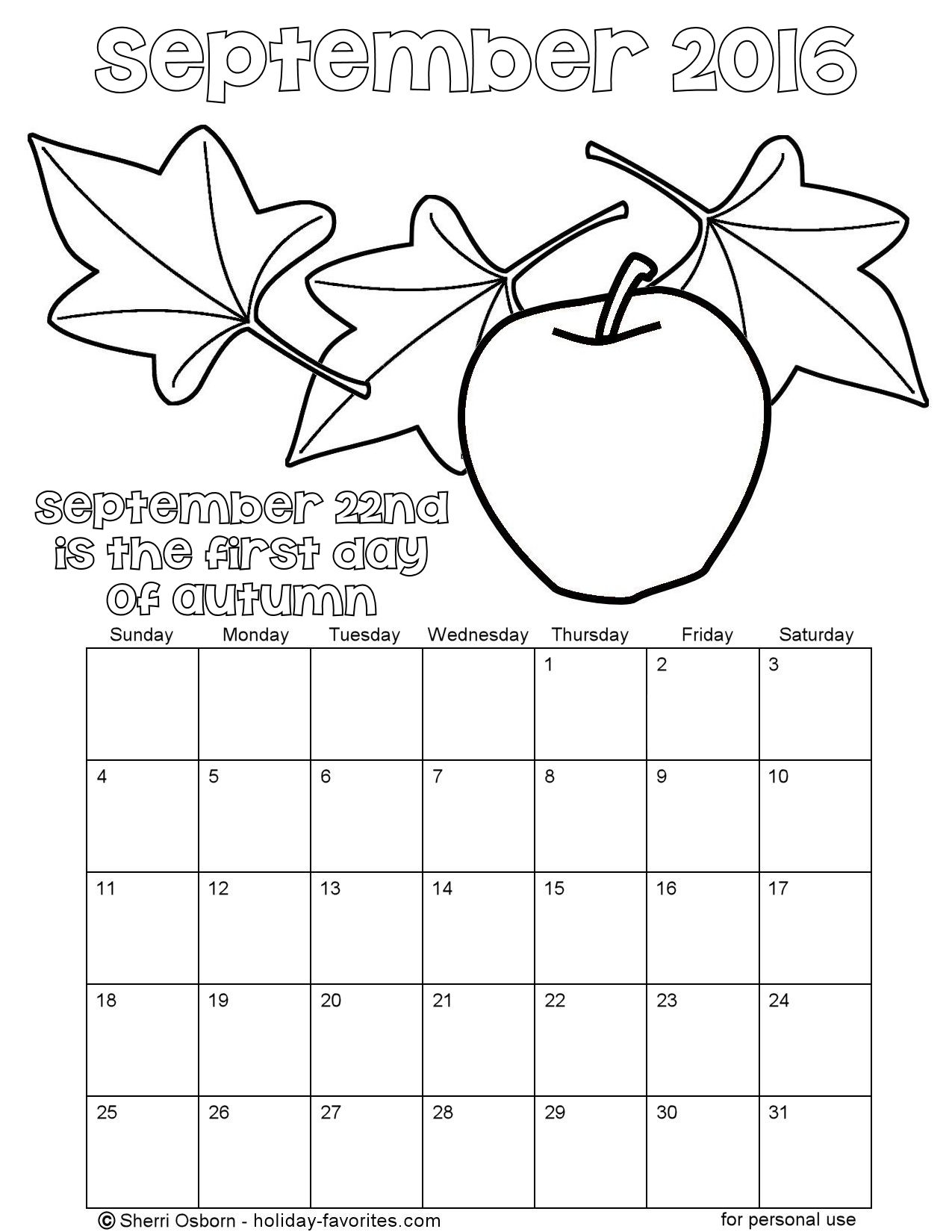 September 2016 Autumn Coloring Page Calendar