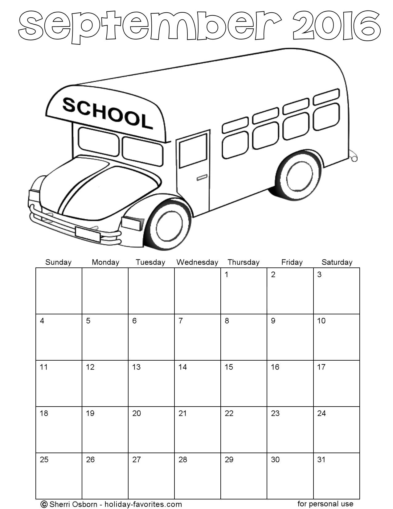 September 2016 School Bus Coloring Page Calendar