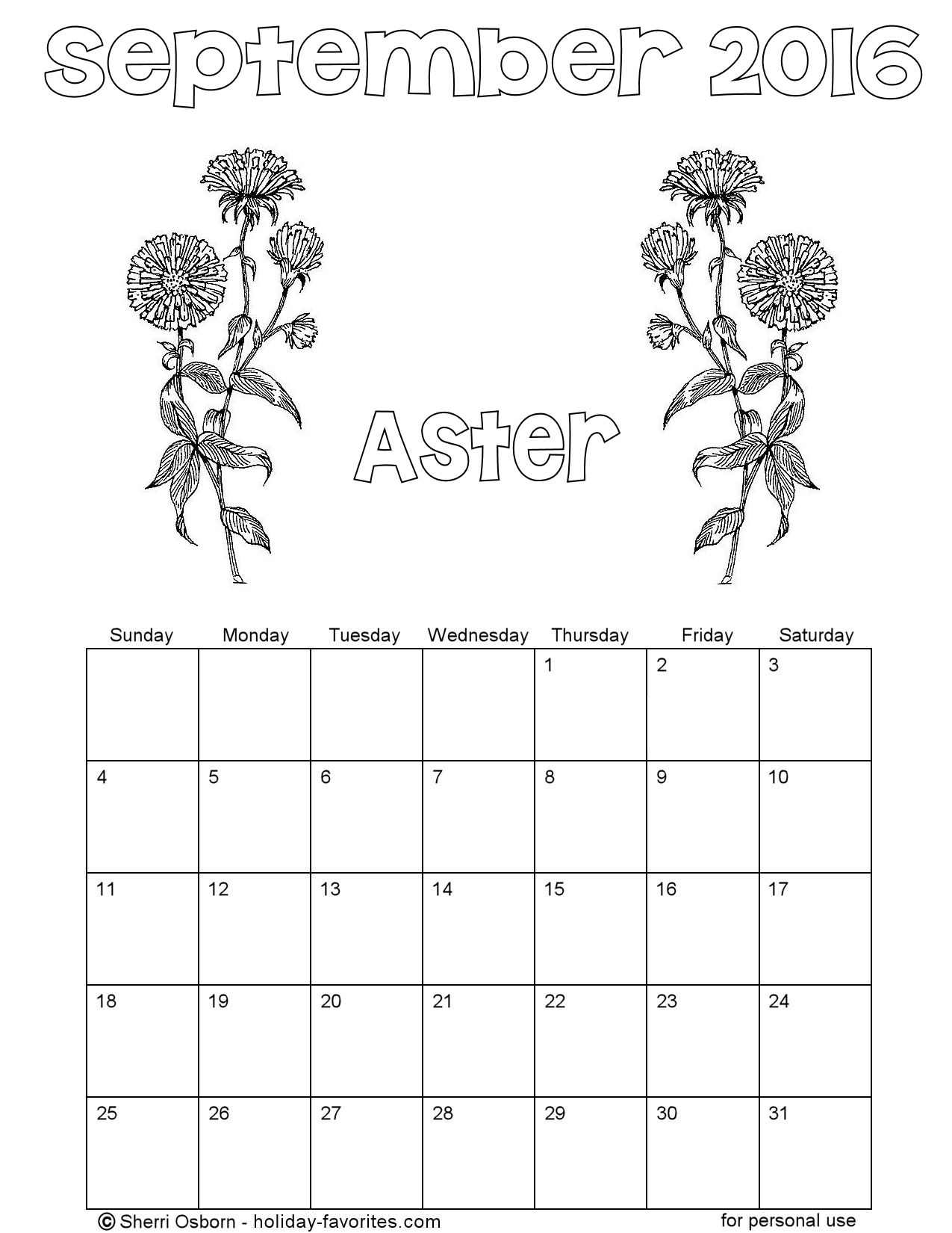 September 2016 Flower Coloring Page Calendar