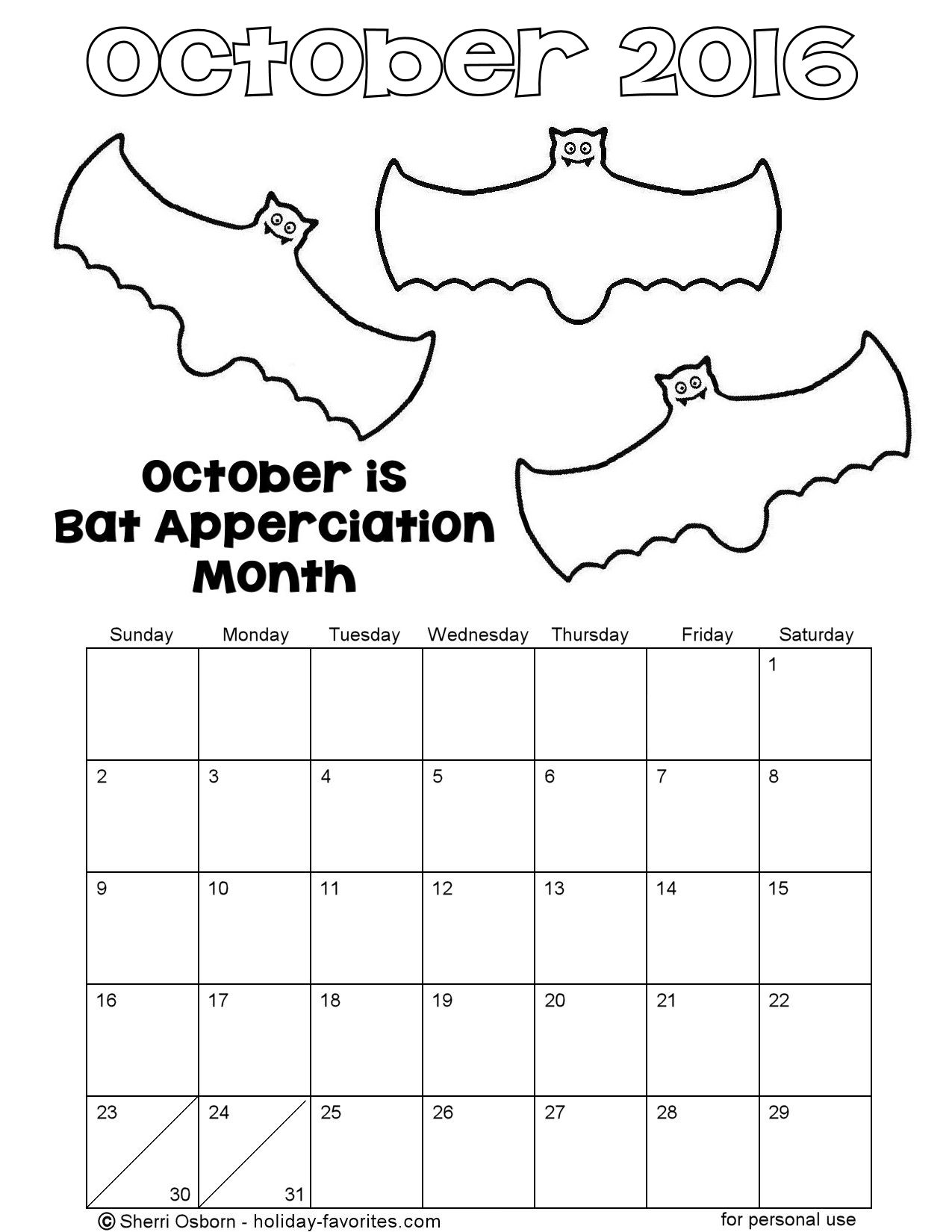 Printable October 2016 Bat Coloring Calendar Page