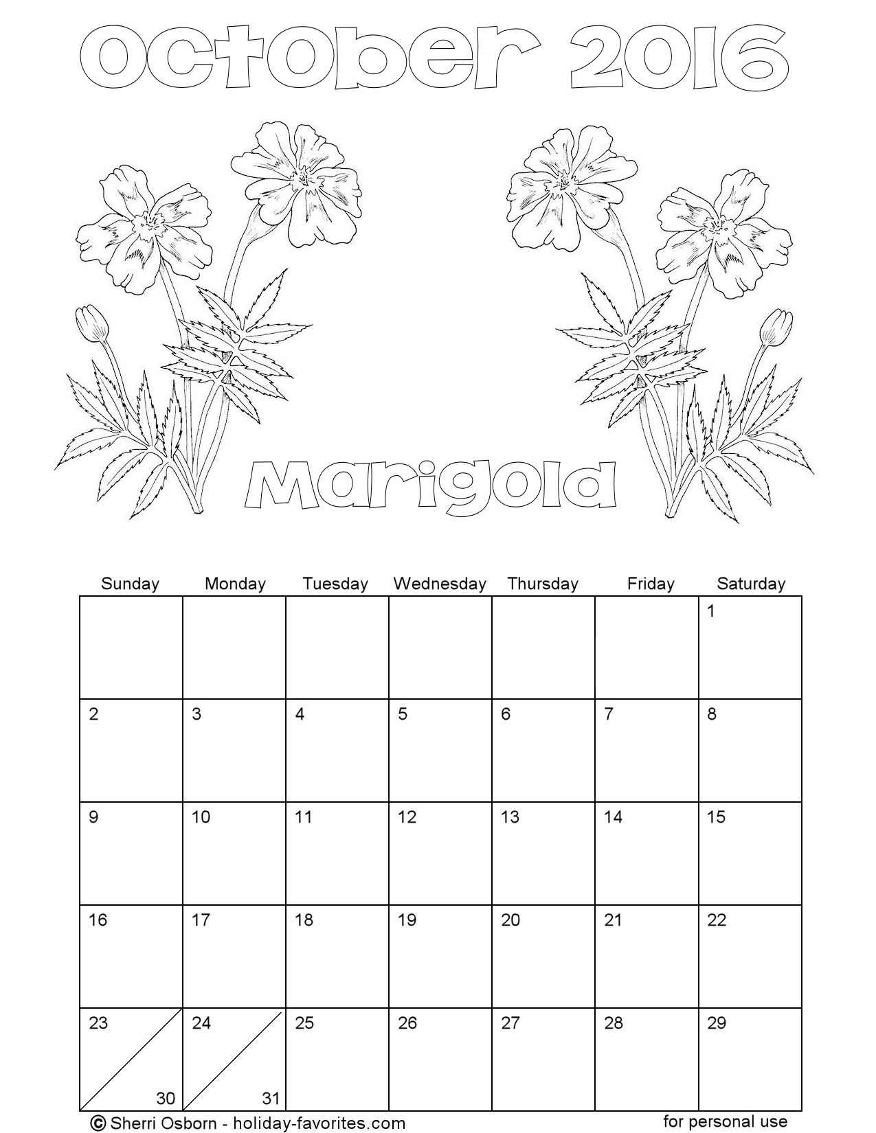 Printable October 2016 Flower Coloring Calendar Page