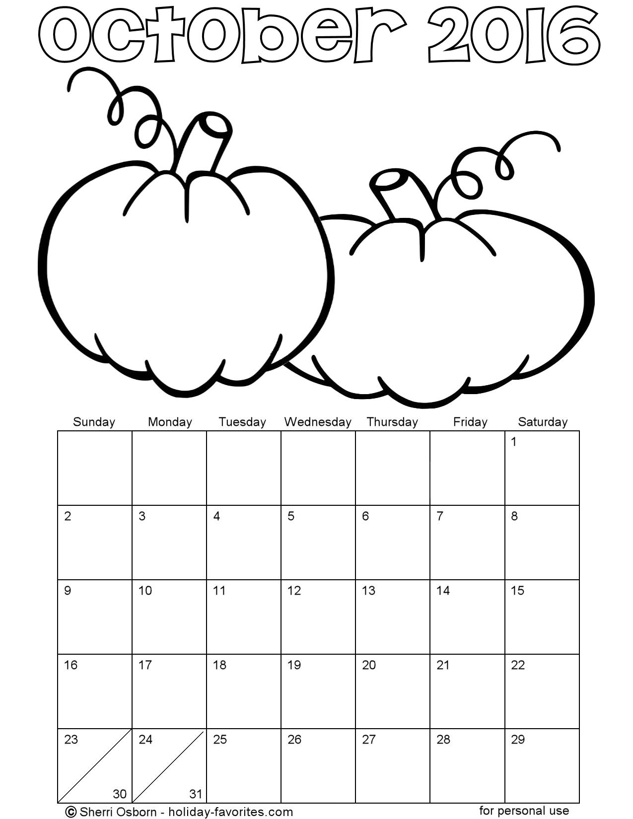 Printable October 2016 Pumpkin Coloring Calendar Page