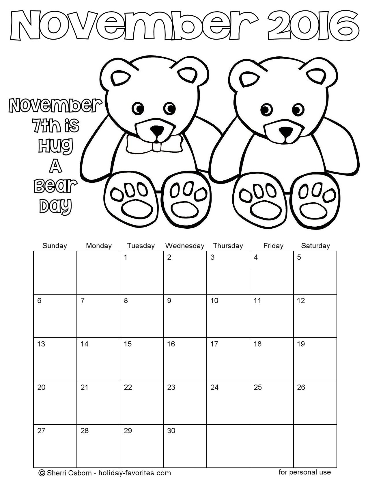 November 2016 Teddy Dear Coloring Calendar Page