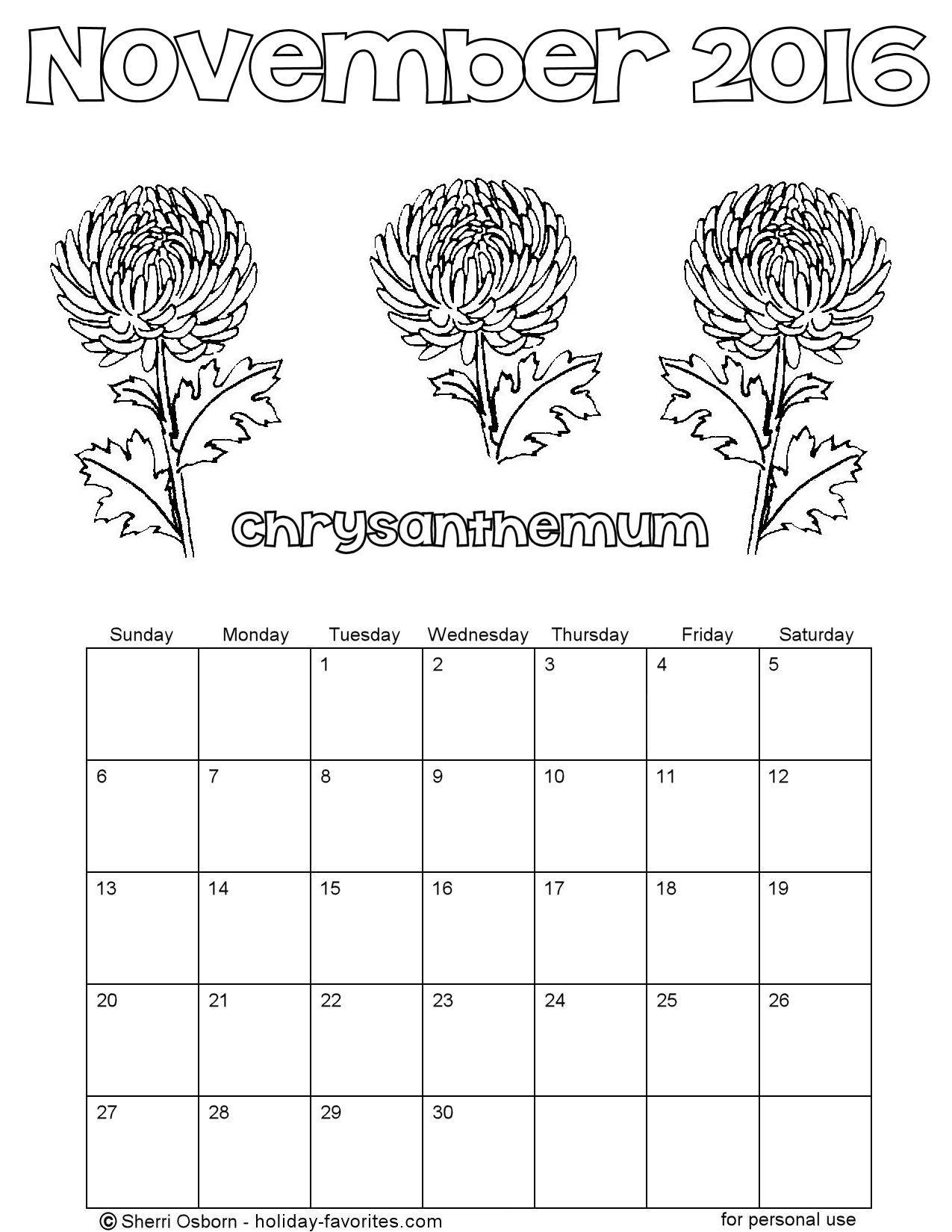 November 2016 Flower Coloring Calendar Page
