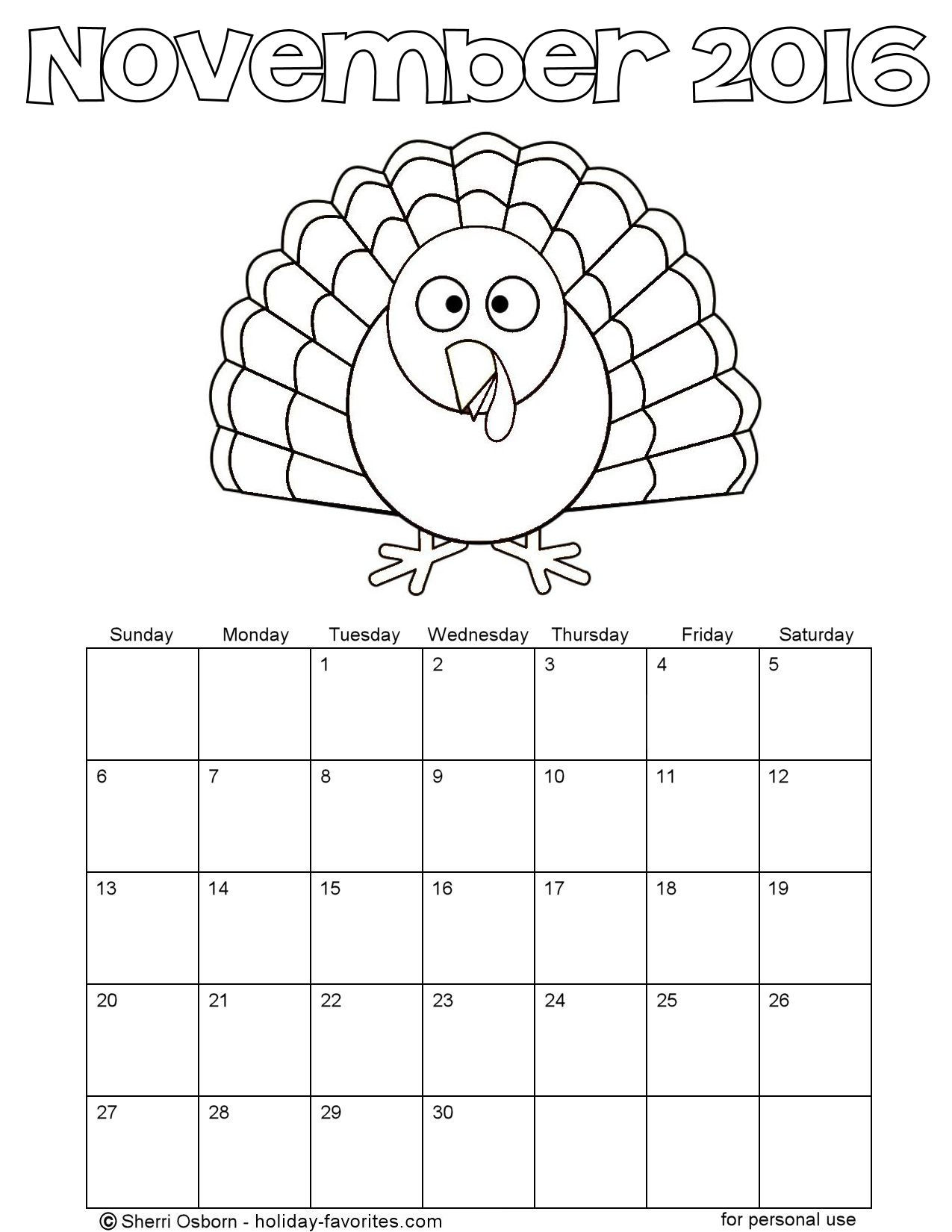 November 2016 Turkey Coloring Calendar Page