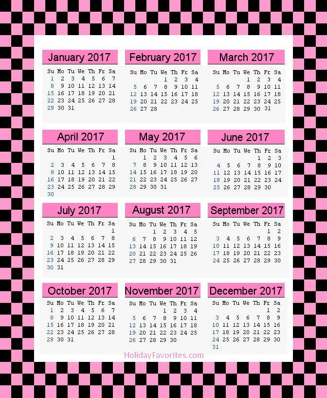 Pink and Black Checks 2017 Calendar Page